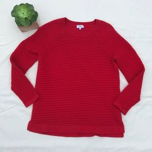 Crown & Ivy Small Red Ribbed Crewneck Sweater